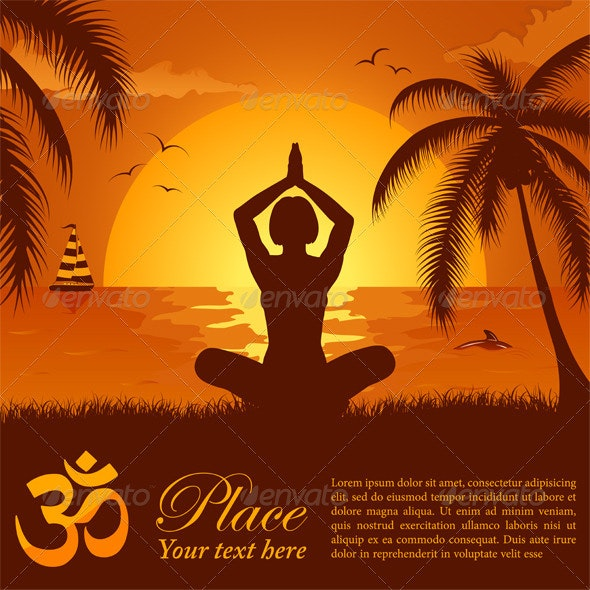 Silhouette of a Girl in Yoga pose on Summer backgr - Sports/Activity Conceptual