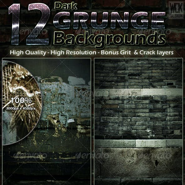 12 Dark Grunge Backgrounds