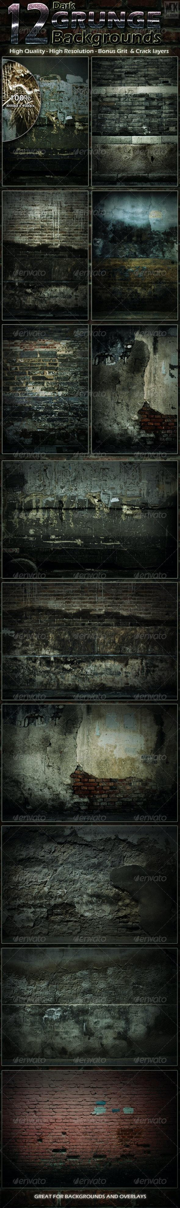 12 Dark Grunge Backgrounds - Backgrounds Graphics