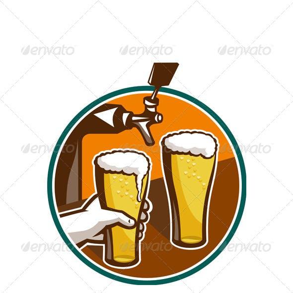 Beer Pint Glass Hand Tap Retro
