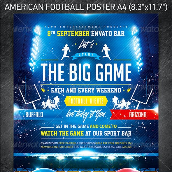 American football The Big Game Poster