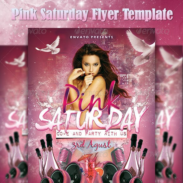 Pink Saturday Flyer Template