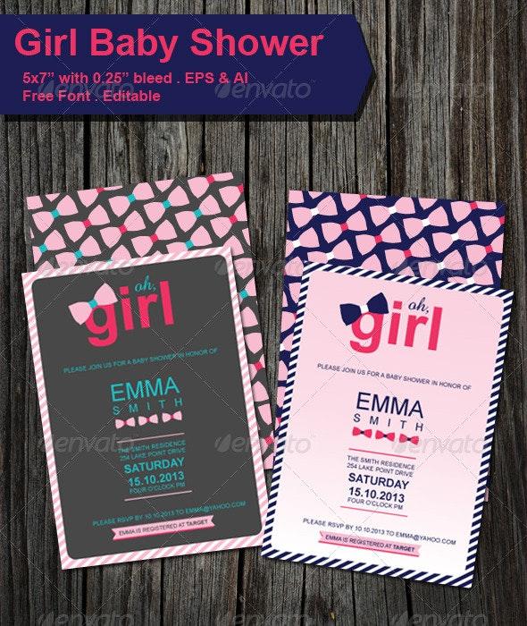 Baby Shower GIRL Invitation  - Invitations Cards & Invites