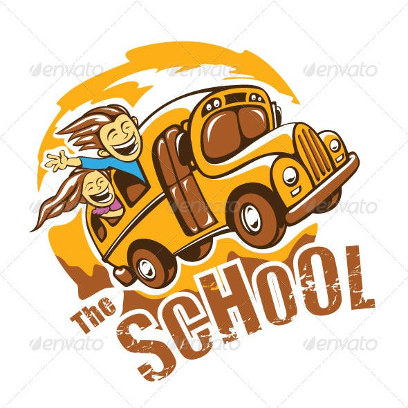 T-shirt design with school bus