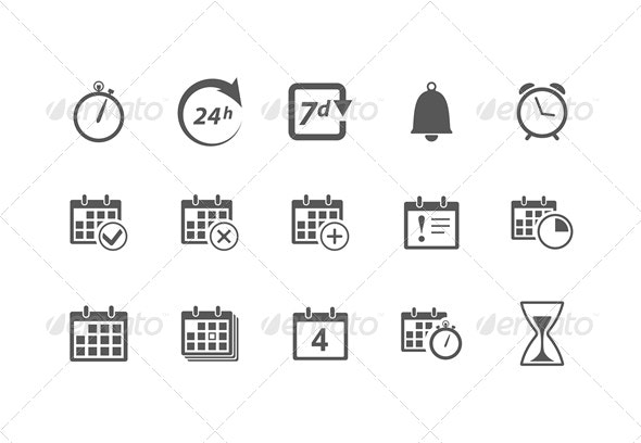 Time and Calendar Icons - Web Elements Vectors