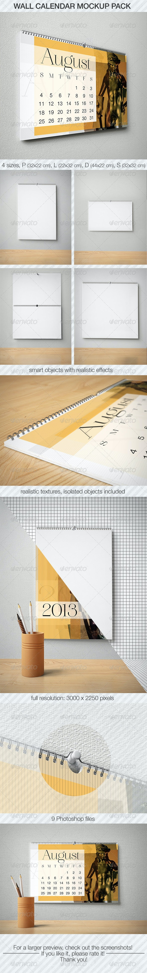 Wall Calendar Mockup Pack - Print Product Mock-Ups
