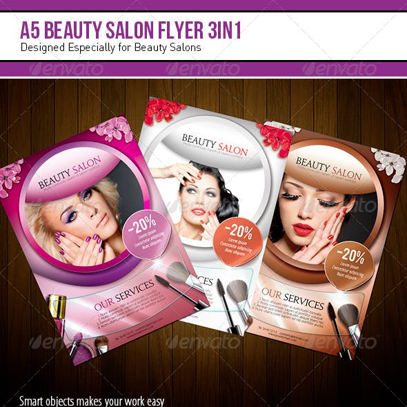 A5 Beauty Salon Flyer – 3 in 1