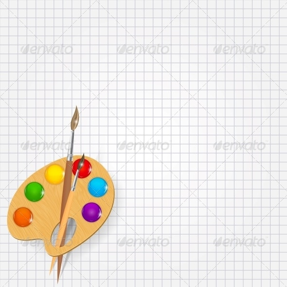 Wooden Art Palette with Paints and Brush - Web Technology