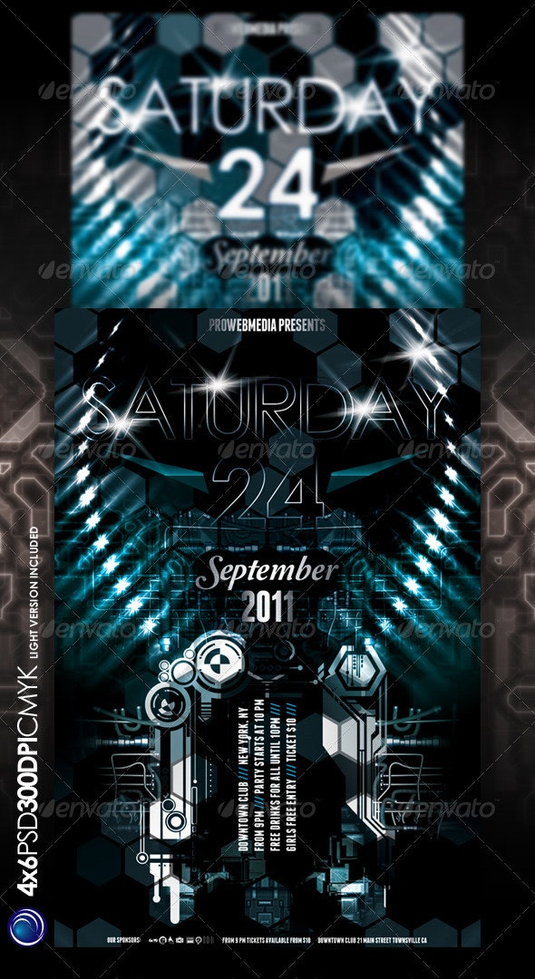 Future Lights Party Flyer Template - Clubs & Parties Events