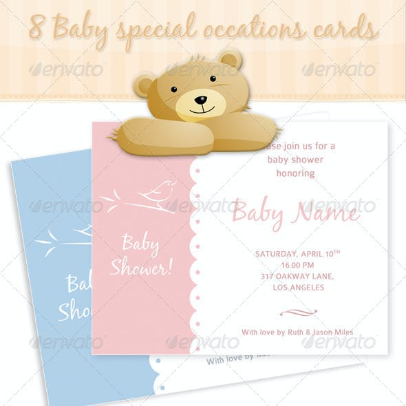 8 Baby Special Occations Cards babyshower birth
