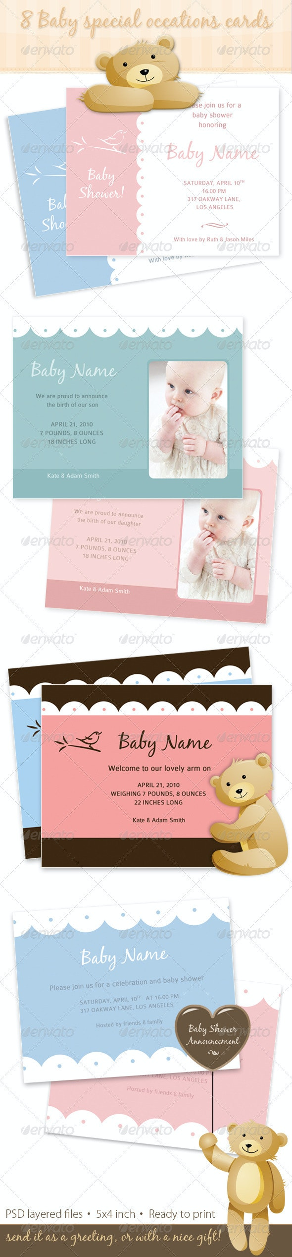 8 Baby Special Occations Cards babyshower birth  - Family Cards & Invites