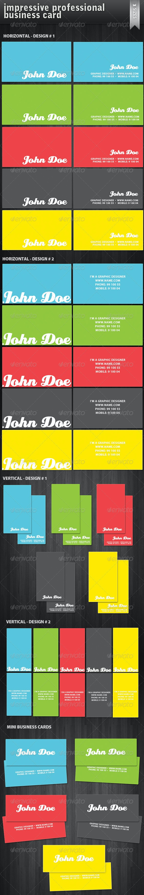 Business Cards x 3 - horizontal, vertical & mini ! - Corporate Business Cards