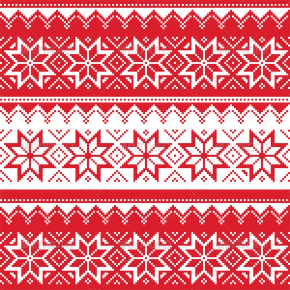 Nordic Seamless Christmas Red Pattern