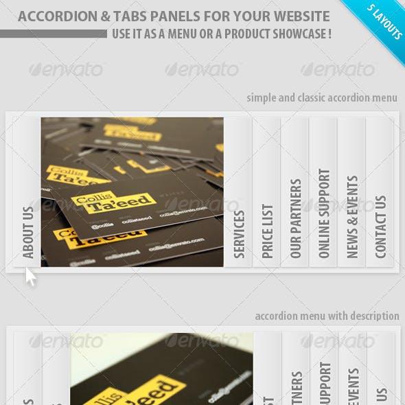 Accordion Tabs menu panels for website - showcase