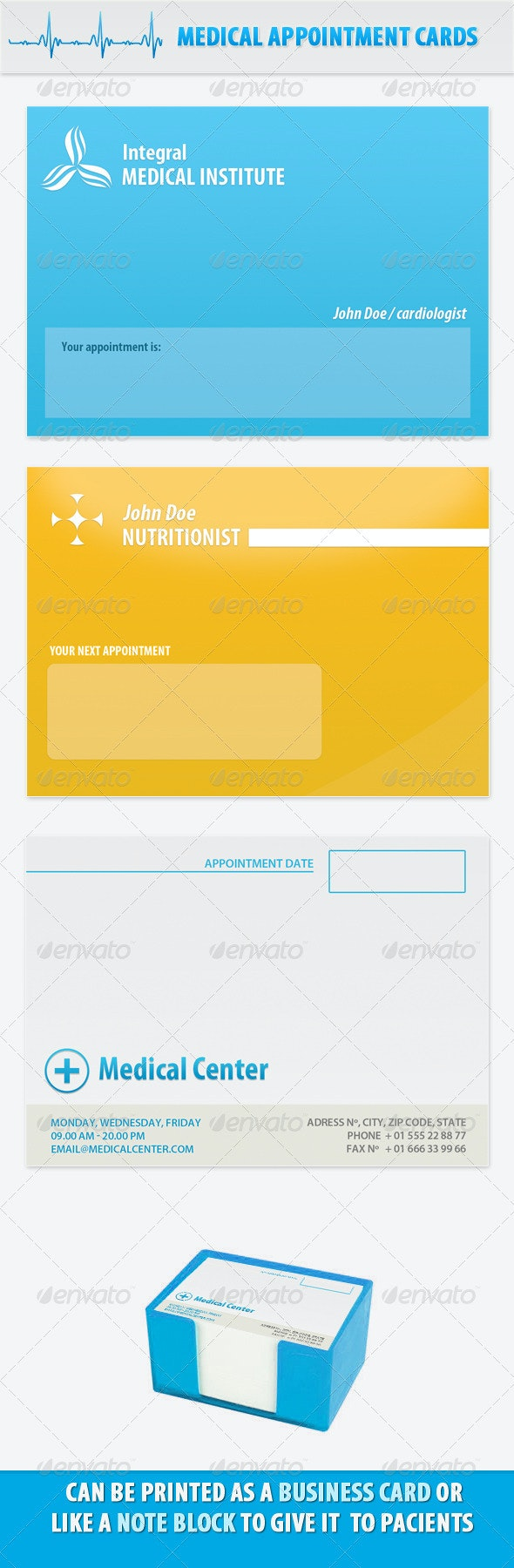 Appointment Medical Doctor Cards or Block Notes - Industry Specific Business Cards