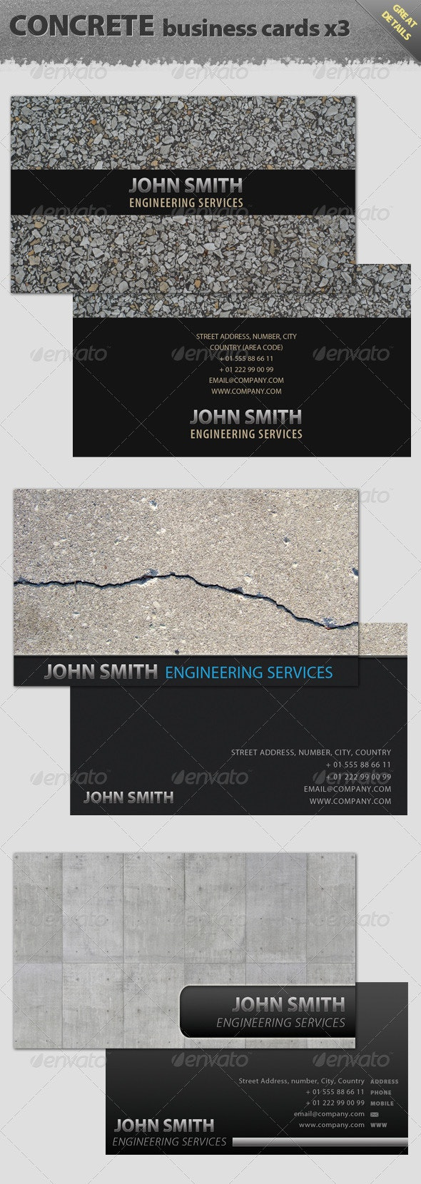 Concrete Texture Business Cards - Industry Specific Business Cards