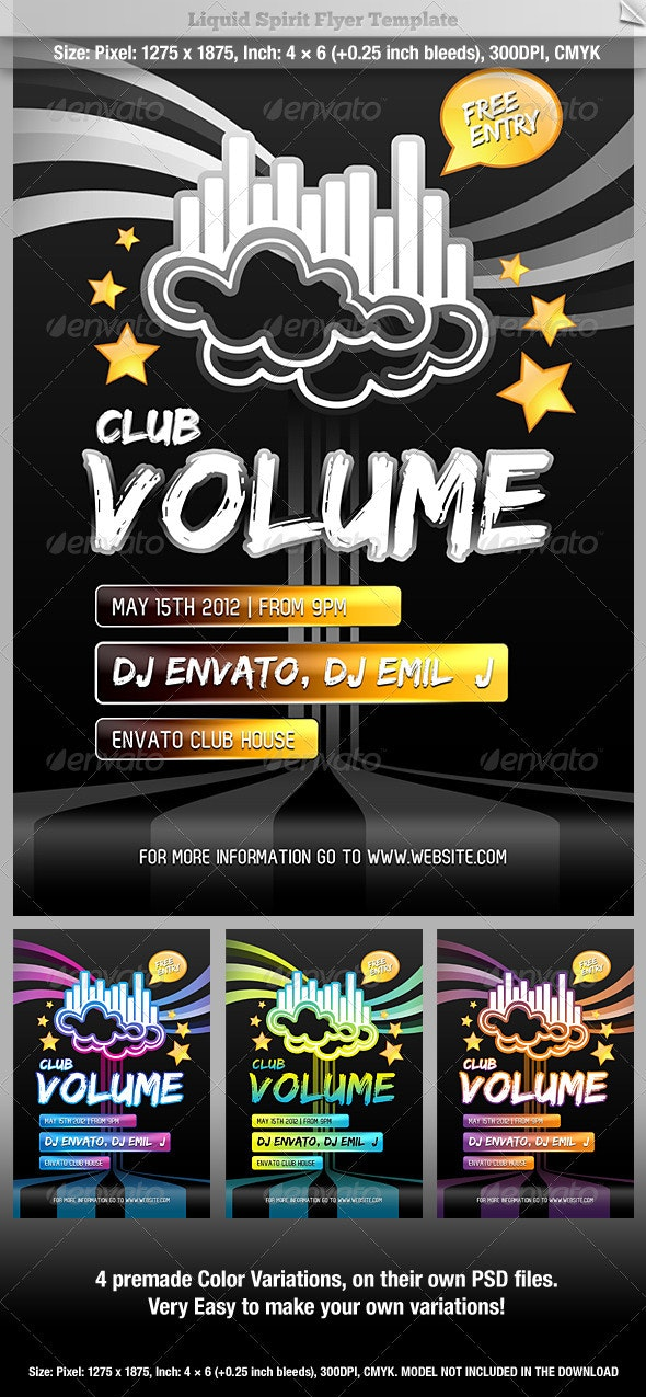 Club Volume Flyer Template - Clubs & Parties Events