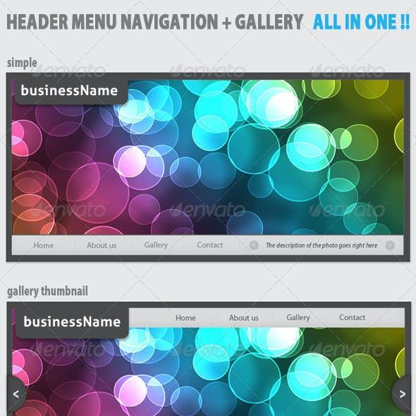 Modern Header Menu navigation + Gallery + Thumbs!