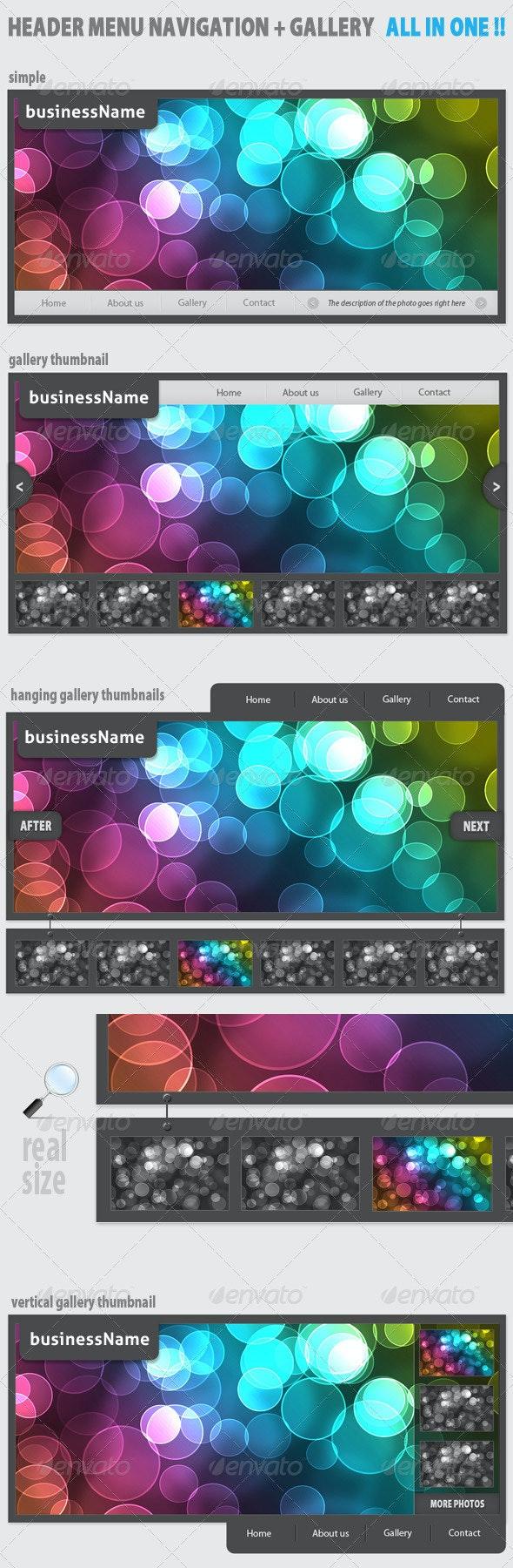 Modern Header Menu navigation + Gallery + Thumbs!  - Web Elements