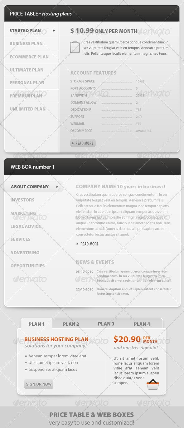 Web boxes - Price Table - clean style and modern - Web Elements