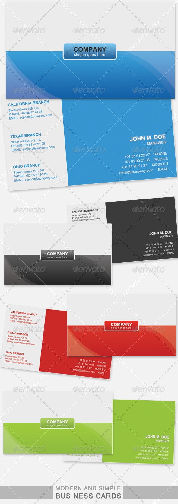 Modern & clean Business Cards set - Corporate Business Cards