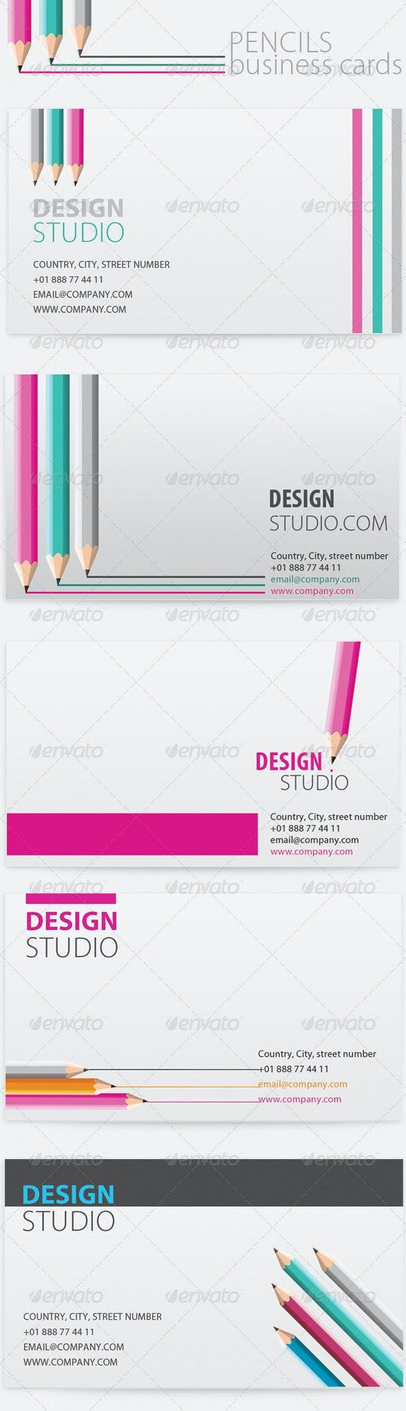 5 x Pencil Business Cards for Artist / Designer / Writer - Creative Business Cards