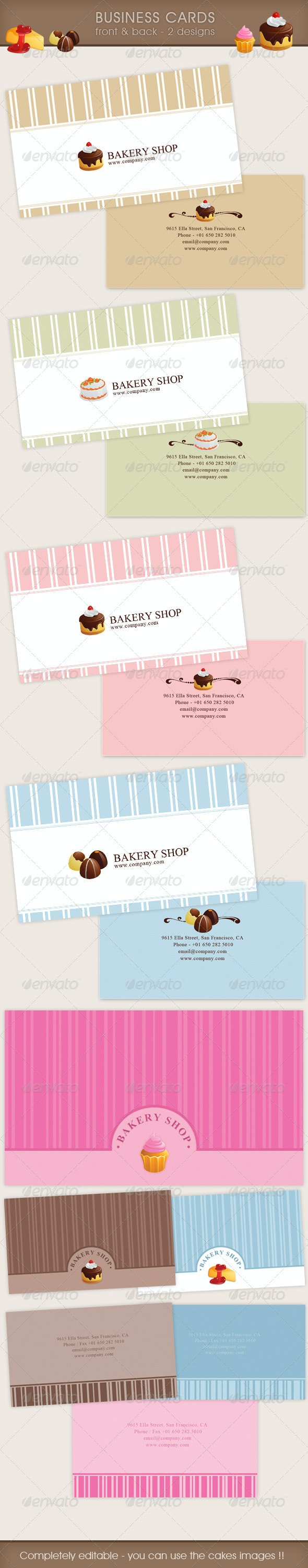 Bakery Business Card Irresistible 2 designs  - Industry Specific Business Cards