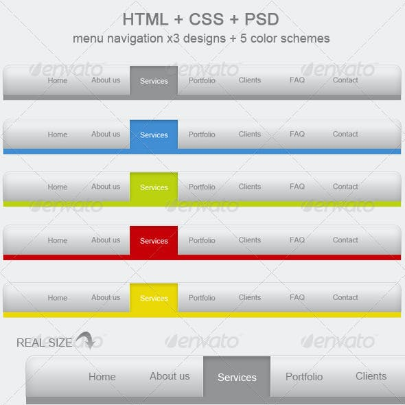 HTML + CSS + PSD menu x 15 + 5 colors! V3