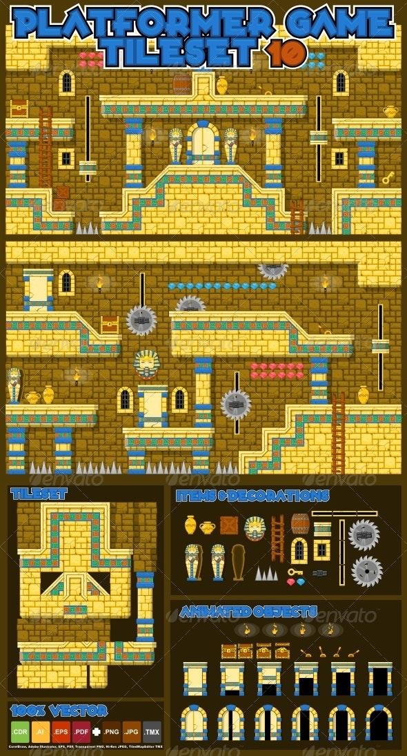 Platformer Game Tile Set 10 - Tilesets Game Assets