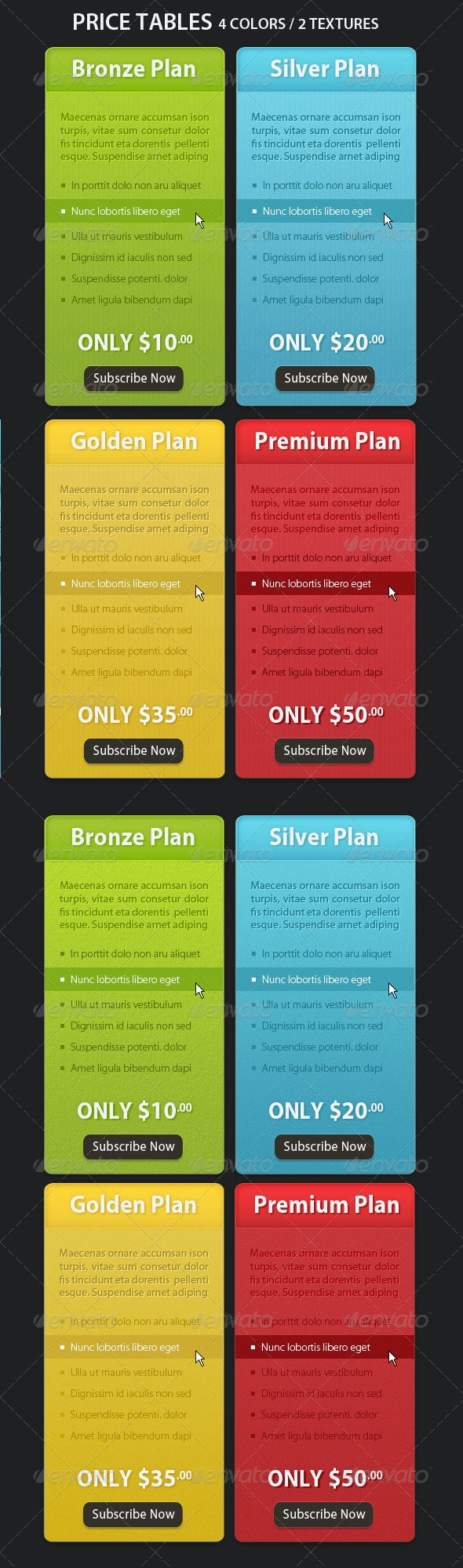 Colorful Price Tables - 2 textures !! - Web Elements