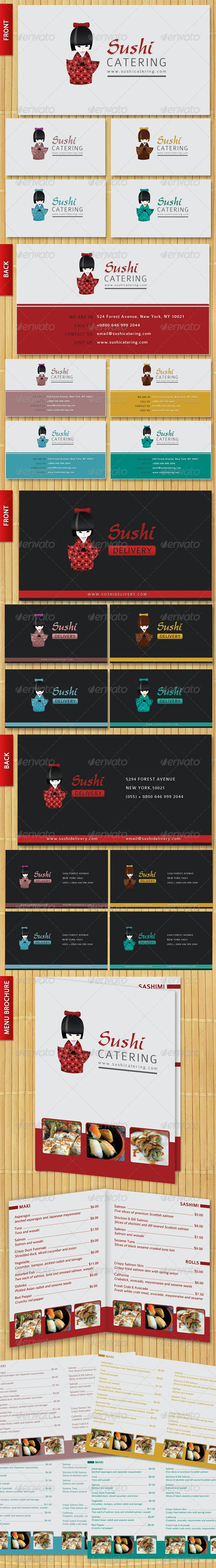 Sushi Business card & menu brochure Set Premium - Industry Specific Business Cards