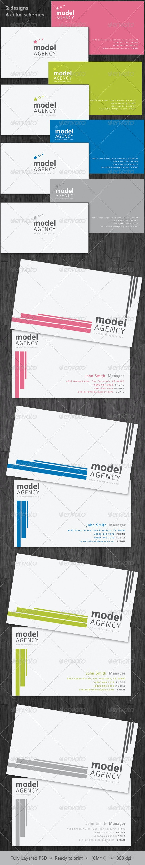 Model Agency x2 designs - x4 schemes Modern&Clean! - Corporate Business Cards