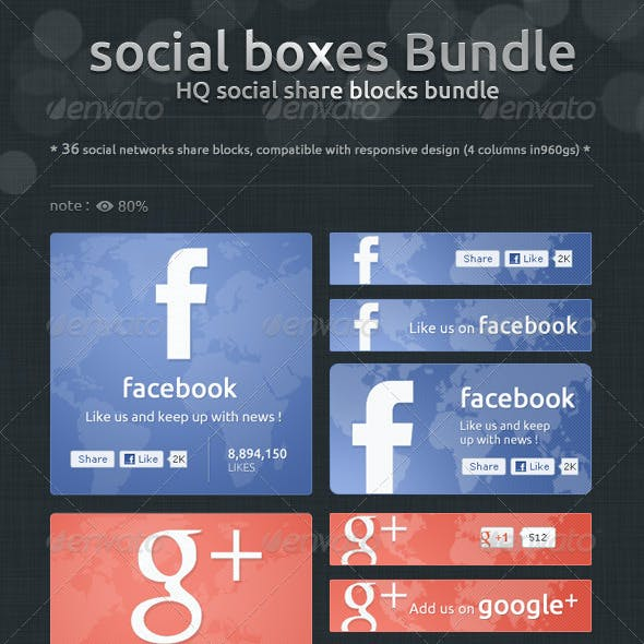 Social Boxes Bundle - Social Share Blocks