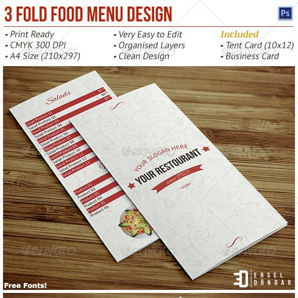 Tri-Fold Food Menu Design