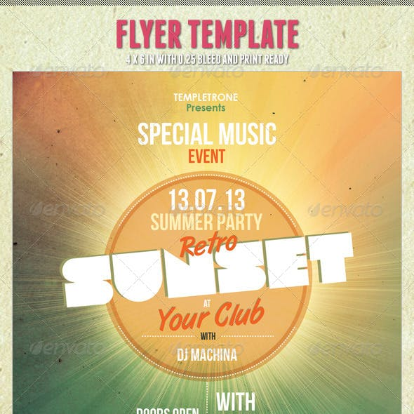 Retro Sunset Flyer Template