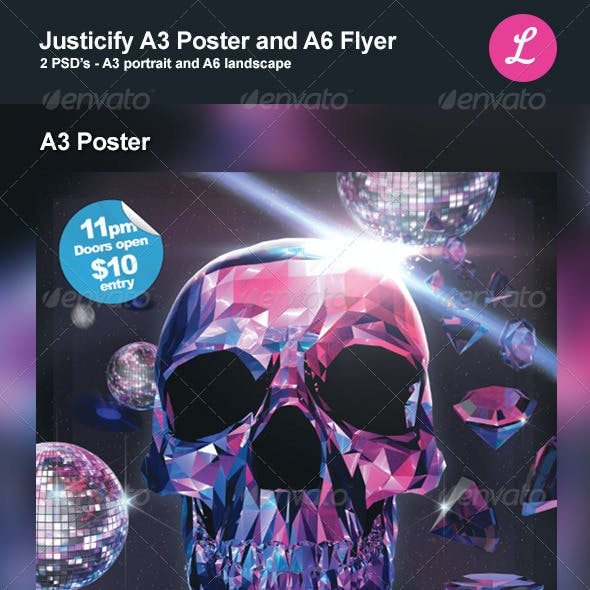 Justicify A3 Poster and A6 Flyer