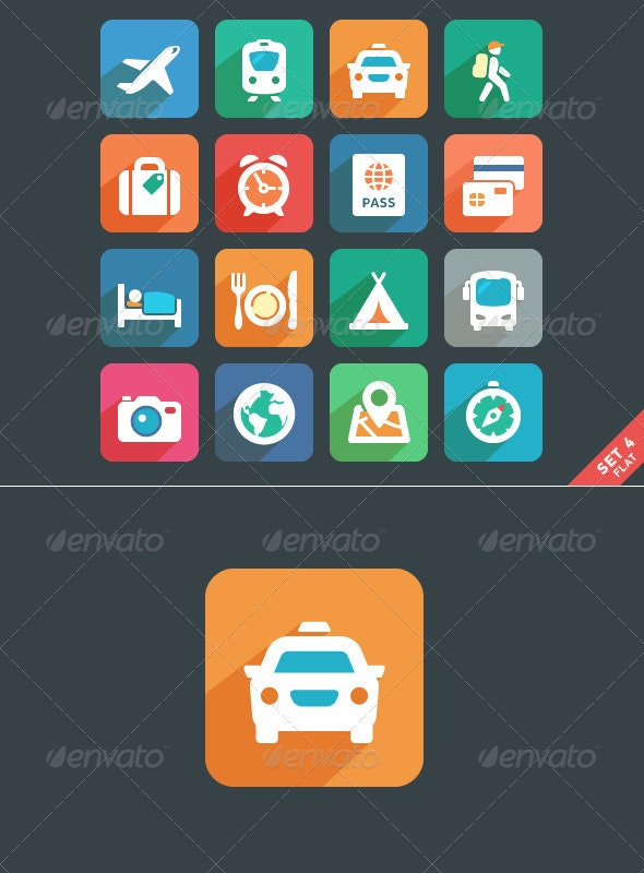 Traveling and transport Flat icons - Seasonal Icons