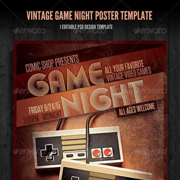 Vintage Game Night Poster Template