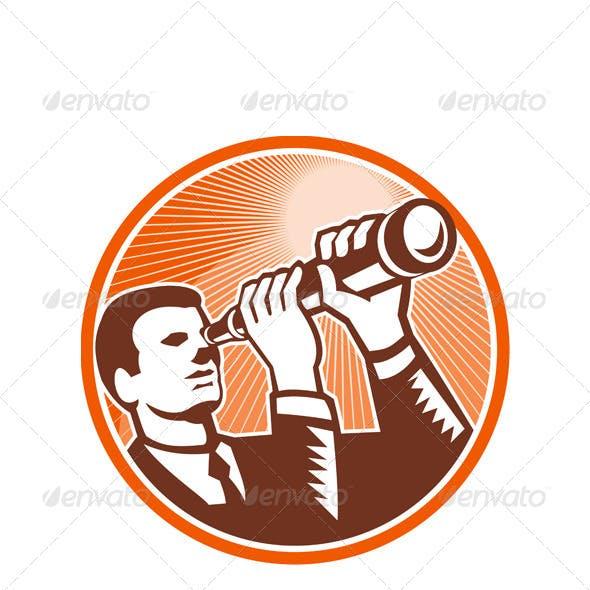 Businessman Holding Looking Telescope Woodcut
