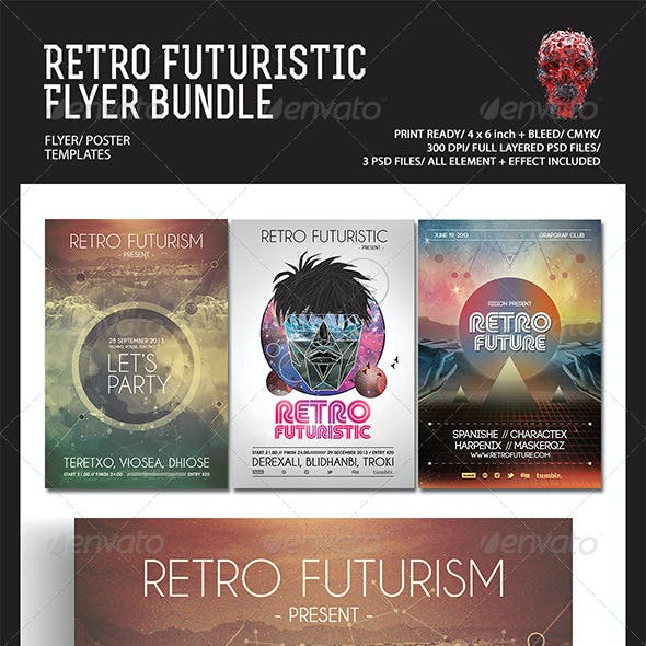 Retro Futuristic Flyer/Poster Bundle