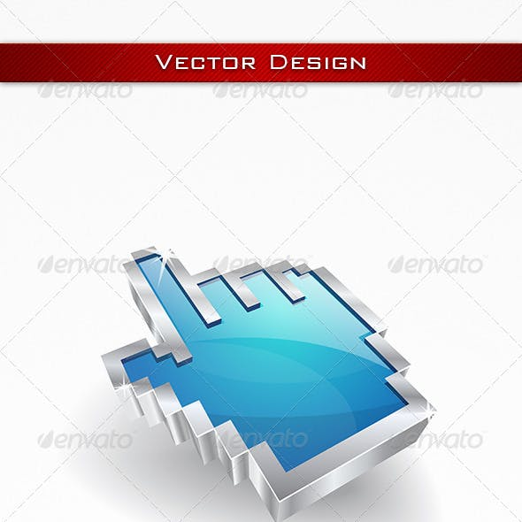 3D Glossy Vector Hand Icon