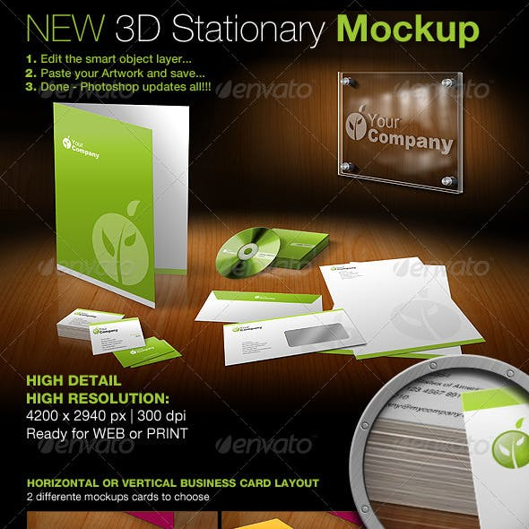 New 3D Stationary Mockup