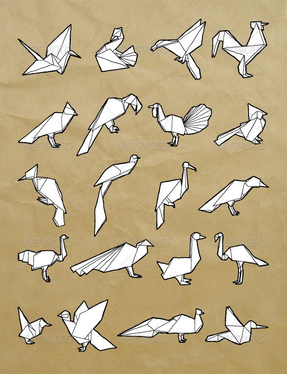 Hand-Drawn Origami Birds Set - Animals Characters