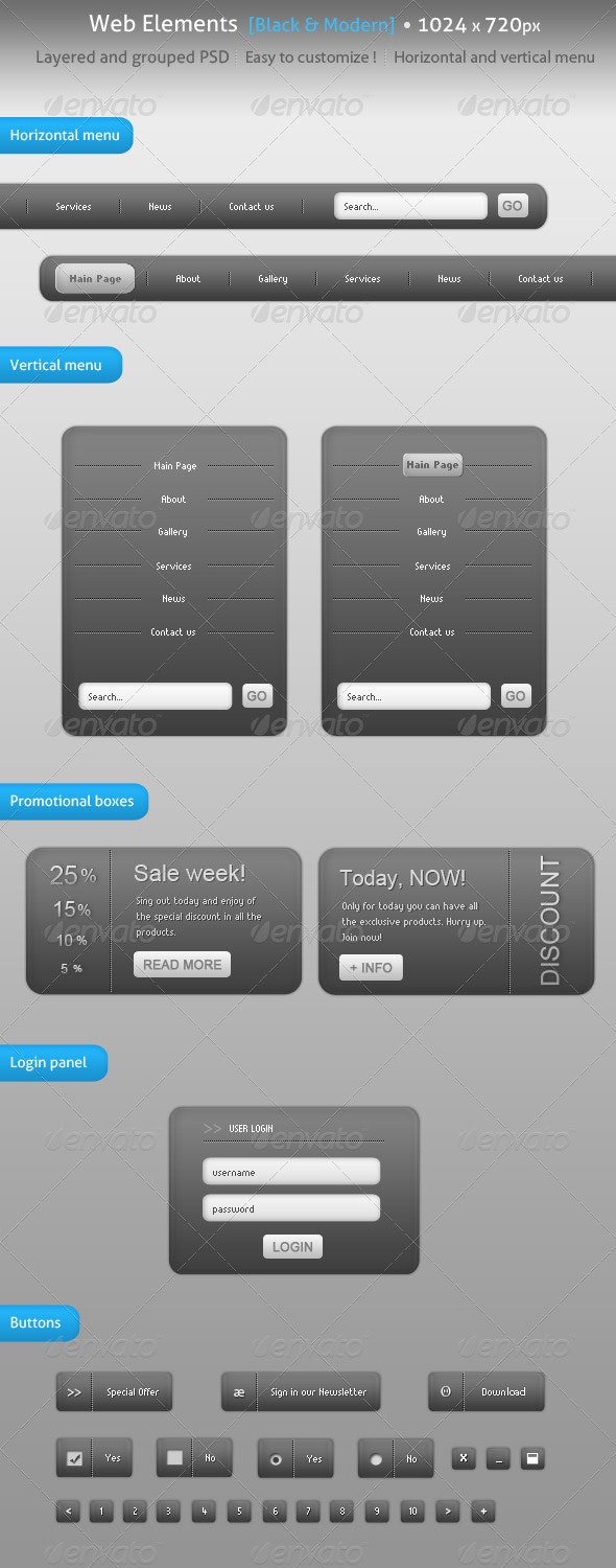 Pack Black and Silver Navigation Web Elements - Web Elements