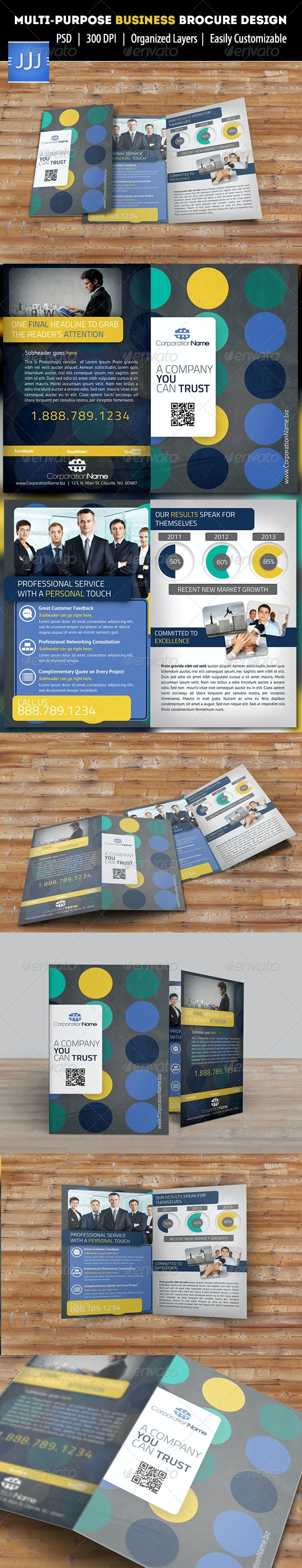 Circles Bifold Multipurpose Corporate Brochure - Corporate Brochures