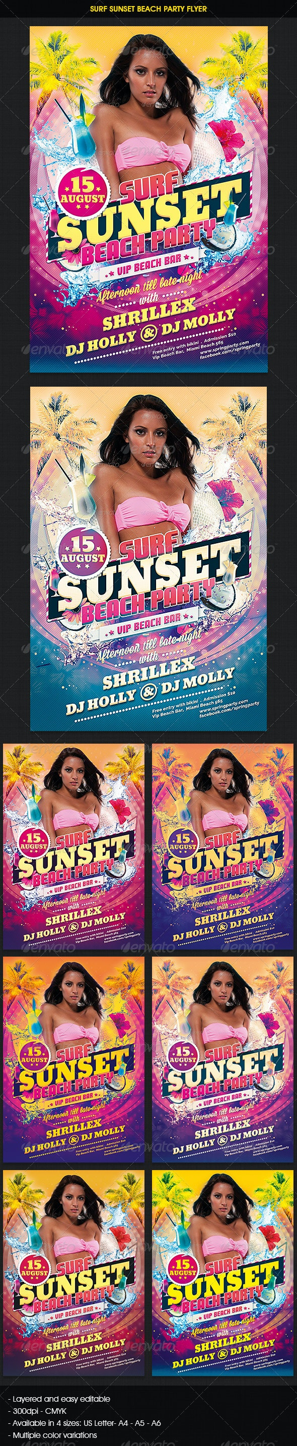 Sunset Beach Party Flyer - Clubs & Parties Events