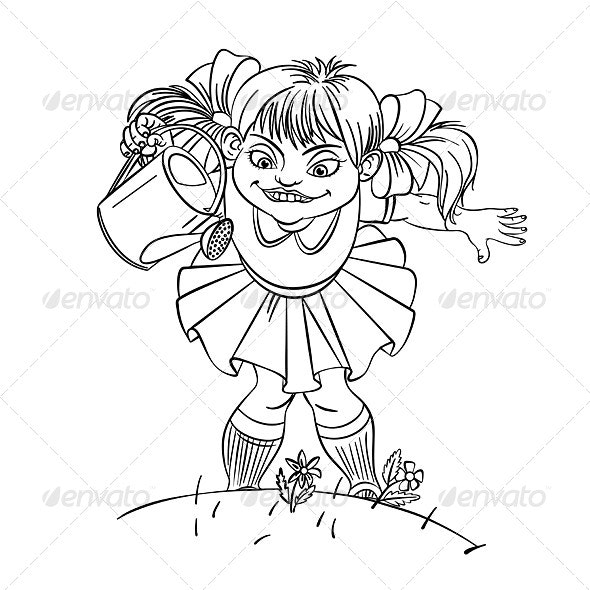 Little Girl with Watering Can - People Characters