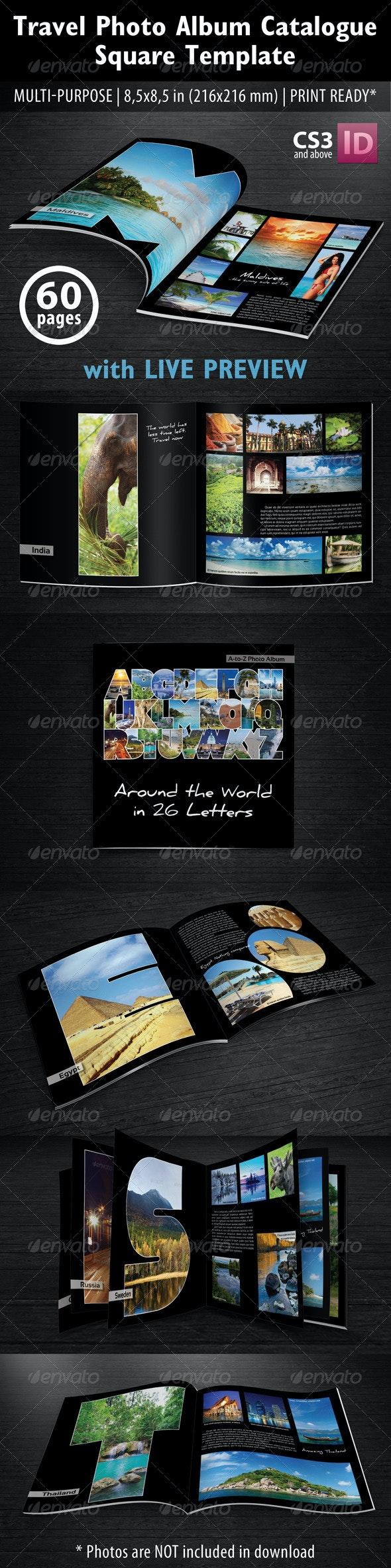 Travel Photo Album Catlog. Square Template - Photo Albums Print Templates