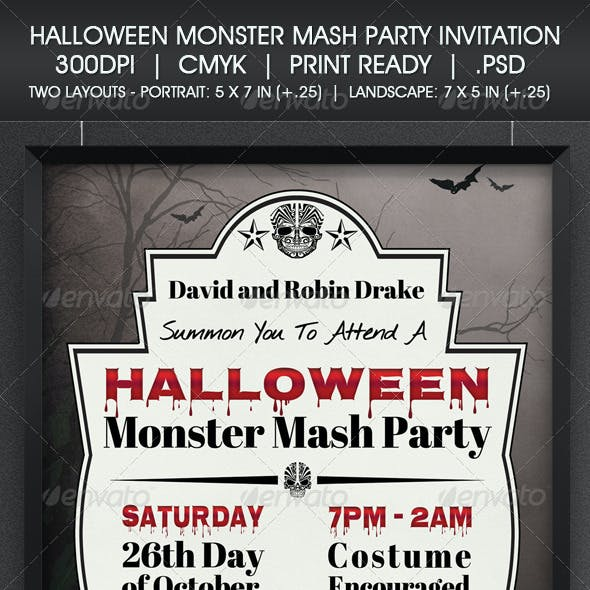 Halloween Monster Mash Party Invitation