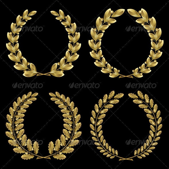 Set from Gold Laurel and Oak Wreath - Decorative Symbols Decorative